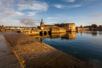 The closed city of Concarneau on a sunny winter morning, Brittany France