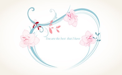 Abstract floral background. Vector heart with flower petals and flower amaryllis. Element for design.