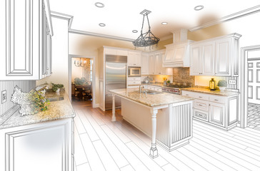 Beautiful Custom Kitchen Drawing and Photo Combination on White.