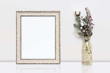 Wooden frame and winter decorations. White clear Mock-up for art work presentations