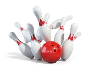 Red ball smashes the bowling pins 3D