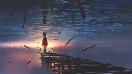 surreal scenery of upside down world with a man on the old bridge looking at sunset light in the sea above the sky, digital art style, illustration painting
