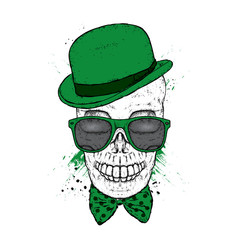 Skull in a hat, glasses and a tie. St.Patrick's day. Vector illustration for a postcard or a poster, print for clothes.