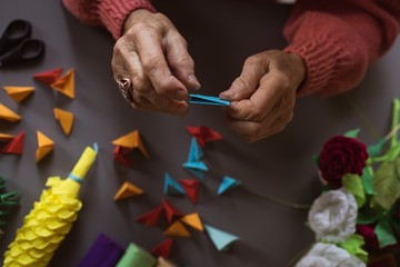 Senior woman doing craft work