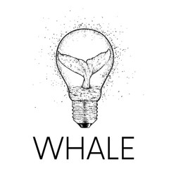 A whale diving into the water. Vector illustration for a postcard or a poster, print for clothes. Sea and ocean. A whale inside an electric bulb.