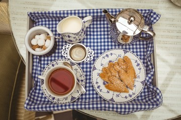 Tray with tea and cookies