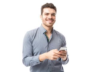 Man checking social media
