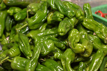 Tray of green pepper