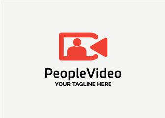 People Video Logo Template Design Vector, Emblem, Design Concept, Creative Symbol, Icon