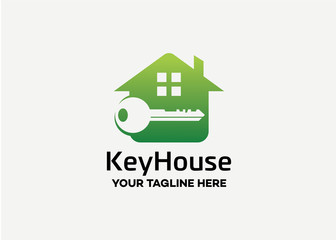 Key House Logo Template Design Vector, Emblem, Design Concept, Creative Symbol, Icon