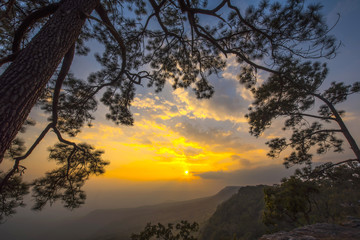 Mountain at Sunset, Phu Kradueng National Park, Loei Province, thailand