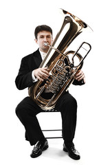 Tuba brass instrument. Wind classical musician isolated