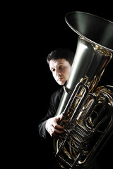 Photo sur Aluminium Musique Tuba brass instrument. Classical musician horn player