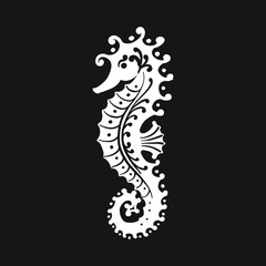 Seahorse silhouette, sketch for your design