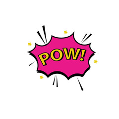 Comic lettering pow. Vector bright cartoon illustration