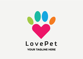 Love Pet Logo Template Design Vector, Emblem, Design Concept, Creative Symbol, Icon