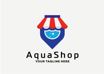 Aqua Shop Logo Template Design Vector, Emblem, Design Concept, Creative Symbol, Icon