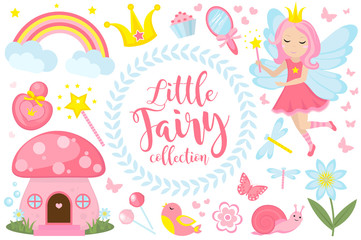 Little fairy set, cartoon style. Cute and mystical collection for girls with fairytale forest princess, magic wand, mushroom house, rainbow, mirror, birds, butterflies, flowers. Vector illustration