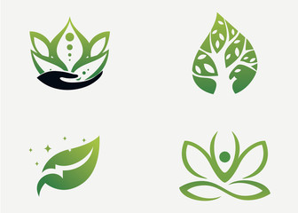 Leaf Logo Set Template Design Vector, Emblem, Design Concept, Creative Symbol, Icon