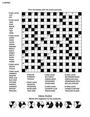 Puzzle page with two puzzles: 19x19 criss-cross (kriss-kross, fill in the blanks) crossword word game (English language) and abstract visual puzzle. Black and white, A4 or Letter sized.
