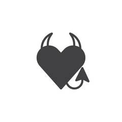 Devil heart icon vector, filled flat sign, solid pictogram isolated on white. Heart with devil horns and a tail symbol, logo illustration.