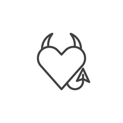 Devil heart line icon, outline vector sign, linear style pictogram isolated on white. Heart with devil horns and a tail symbol, logo illustration. Editable stroke