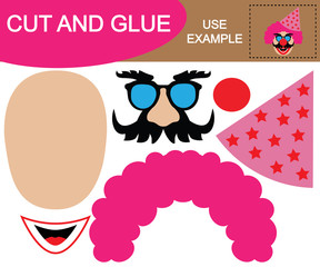 Create the Image of head of clown with cap using scissors and glue. Game for children.