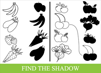 Color vegetables, fruits and berries and find the correct shadow. Kid's game.