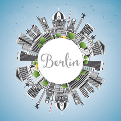 Berlin Germany City Skyline with Gray Buildings, Blue Sky and Copy Space.
