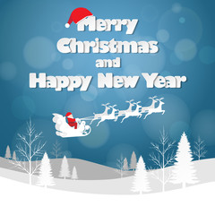 Design Christmas greeting card, and Happy new year message, Vector illustration.