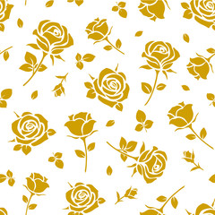 Seamless pattern with yellow rose silhouette on white background. Floral wallpaper. Vector illustration.
