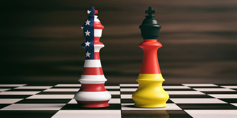 USA and Germany flags on chess kings. 3d illustration