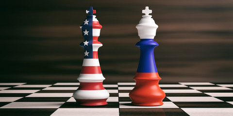 USA and Russia flags on chess kings. 3d illustration