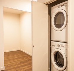 stacking washer and dryer in new apartment
