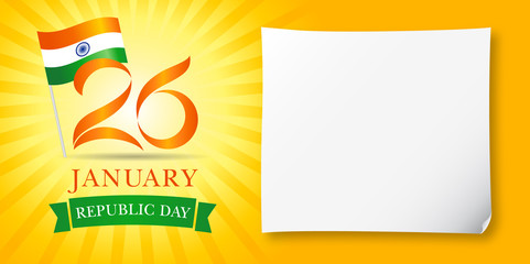 26 January, Happy Republic Day Idia greeting banner. Vector illustration for 26th january Republic Day Idia lettering banner with national flag and text on yellow stripes background