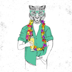Retro Hipster animal cheetah with tropic cocktail