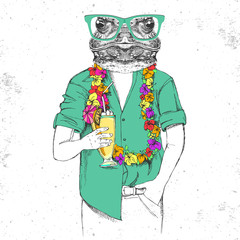 Retro Hipster animal frog with tropic cocktail