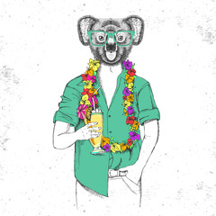 Retro Hipster animal koala with tropic cocktail