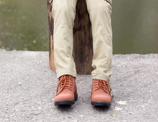 Man wearing cargo panties, outdoor