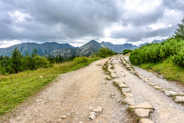 Hiking trail in mountains, landscape, Tatra National Park, Poland