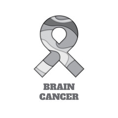 Brain cancer awareness poster. Gray ribbon made in 3D paper cut and craft style on white background. Medical concept. Vector illustration.