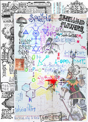 Deurstickers Imagination Background with alchemic draws and tarots