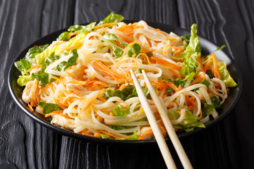 Dietary salad with rice noodles, chicken breast, carrot and greens close-up. horizontal