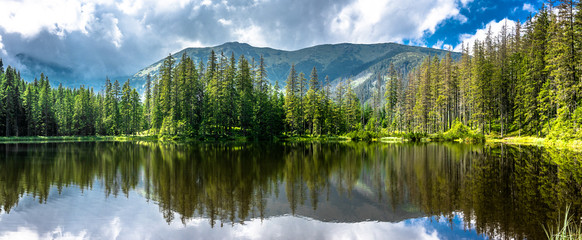 Panorama of mountain lake in Tatra Mountains, National Park in Poland, summer landscape