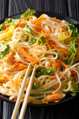Chicken salad with rice noodles, carrots and greens close-up. vertical