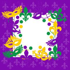 Mardi gras. Elegant purple frame. Place for text.