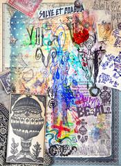 Deurstickers Imagination Graffiti,disegni,manoscritti e collage con simboli alchemici,astrologici,chimici ed esoterici