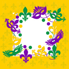 Mardi gras. Elegant yellow frame. Place for text.