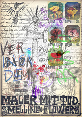 In de dag Imagination Mysterious old manuscript with sketches and draws