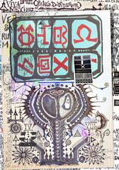 Deurstickers Imagination Misteriosi collage con schizzi,manoscritti,disegni,simboli esoterici,astrologicici e alchemici
